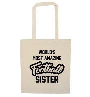 Worlds most amazing football sister natural tote bag