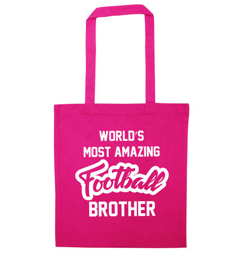 Worlds most amazing football brother pink tote bag
