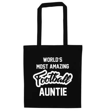 Worlds most amazing football auntie black tote bag