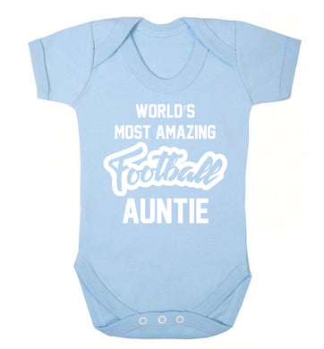 Worlds most amazing football auntie Baby Vest pale blue 18-24 months