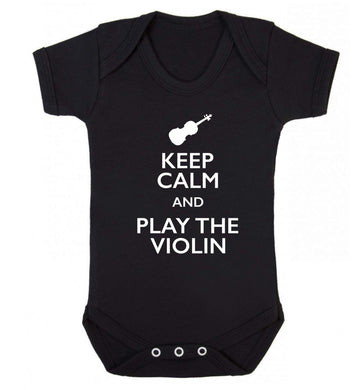 Keep calm and play the violin Baby Vest black 18-24 months