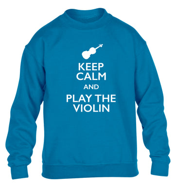Keep calm and play the violin children's blue sweater 12-13 Years