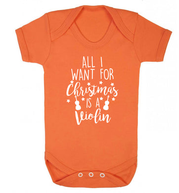 All I Want For Christmas is a Violin Baby Vest orange 18-24 months