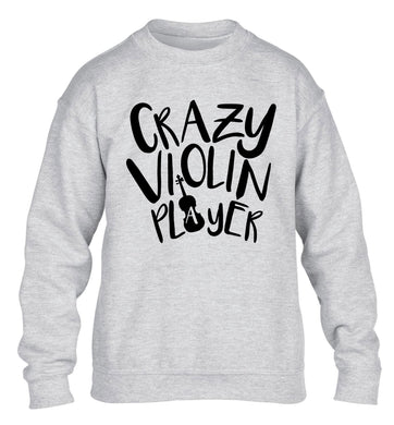 Crazy Violin Player children's grey sweater 12-13 Years