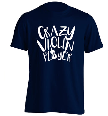 Crazy Violin Player adults unisex navy Tshirt 2XL