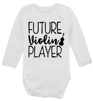 Future Violin Player Baby Vest long sleeved white 6-12 months