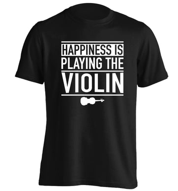 Happiness is playing the violin adults unisex black Tshirt 2XL