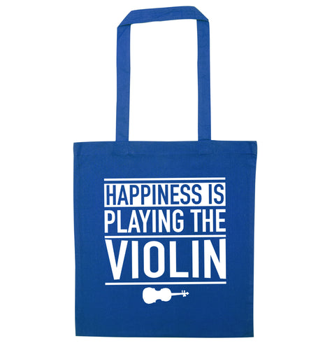 Happiness is playing the violin blue tote bag