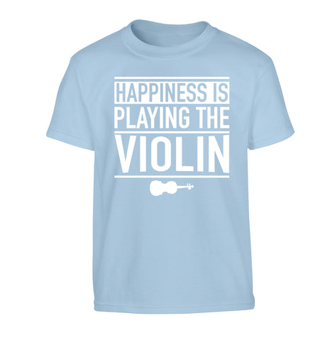 Happiness is playing the violin Children's light blue Tshirt 12-13 Years