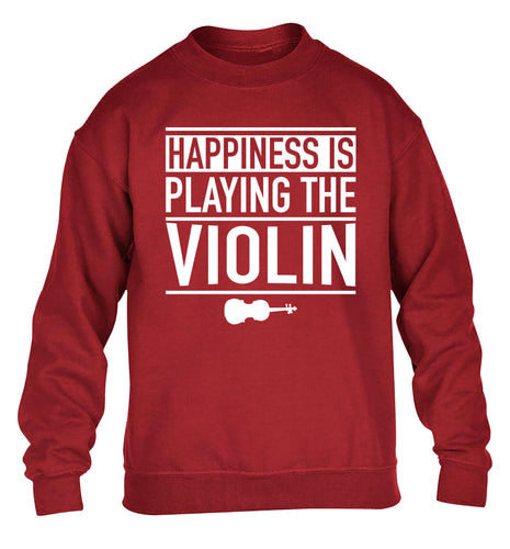 Happiness is playing the violin children's grey sweater 12-13 Years
