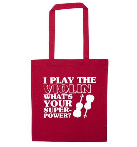 I Play Violin What's Your Superpower? red tote bag