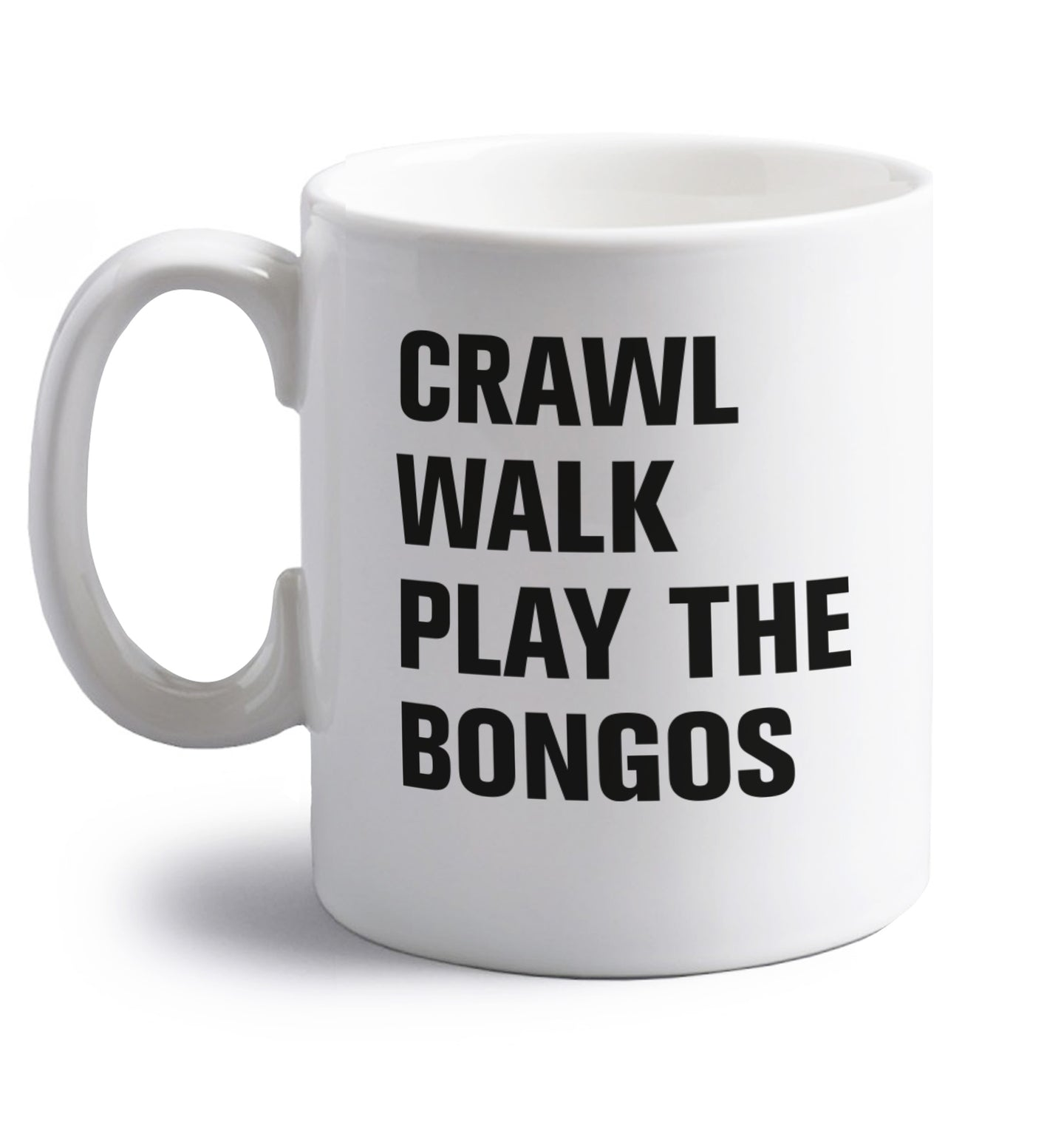 Crawl Walk Play Bongos right handed white ceramic mug