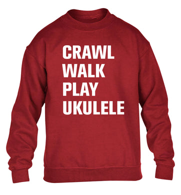 Crawl walk play ukulele children's grey sweater 12-13 Years