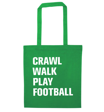 Crawl, walk, play football green tote bag