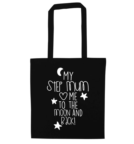 My step-mum loves me to the moon and back black tote bag