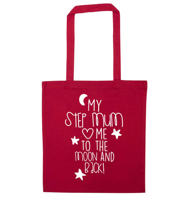My step-mum loves me to the moon and back red tote bag