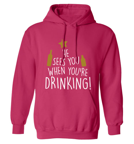He sees you when you're drinking adults unisex pink hoodie 2XL