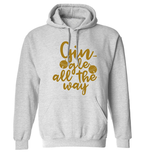 Gin-gle all the way adults unisex grey hoodie 2XL