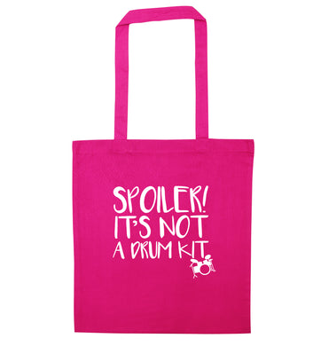 Spoiler it's not a drum kit pink tote bag