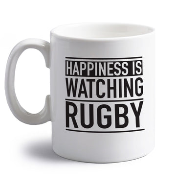 Happiness is watching rugby right handed white ceramic mug