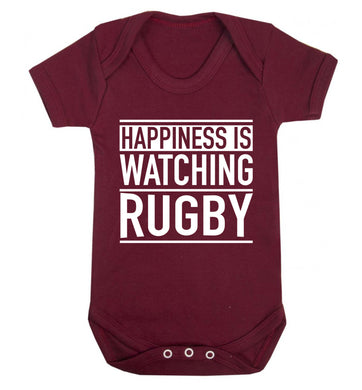 Happiness is watching rugby Baby Vest maroon 18-24 months
