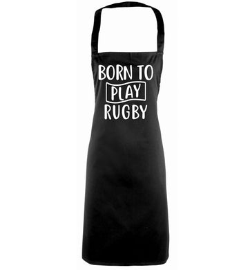 Born to play rugby black apron