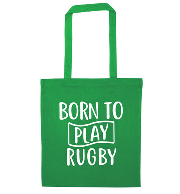 Born to play rugby green tote bag