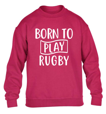 Born to play rugby children's pink sweater 12-13 Years