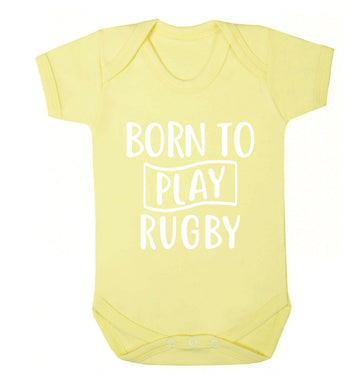 Born to play rugby Baby Vest pale yellow 18-24 months