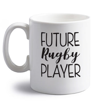 Future rugby player right handed white ceramic mug