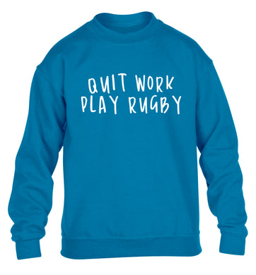 Quit work play rugby children's blue sweater 12-13 Years