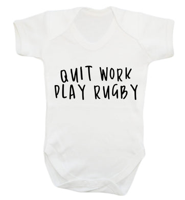 Quit work play rugby Baby Vest white 18-24 months