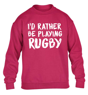 I'd rather be playing rugby children's pink sweater 12-13 Years
