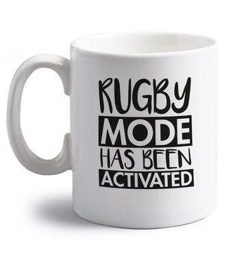 Rugby mode activated right handed white ceramic mug
