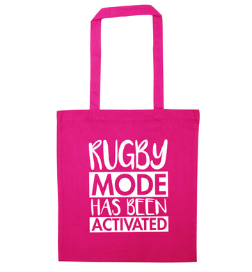 Rugby mode activated pink tote bag