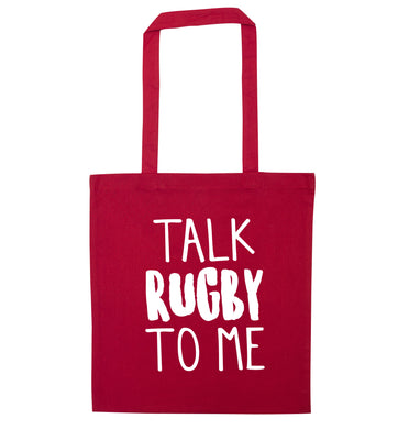 Talk rugby to me red tote bag