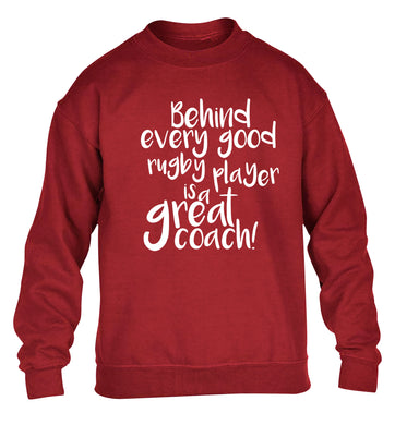 Behind every goor rugby player is a great coach children's grey sweater 12-13 Years