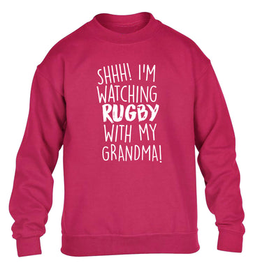 Shh I'm watching rugby with my grandma children's pink sweater 12-13 Years