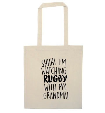 Shh I'm watching rugby with my grandma natural tote bag