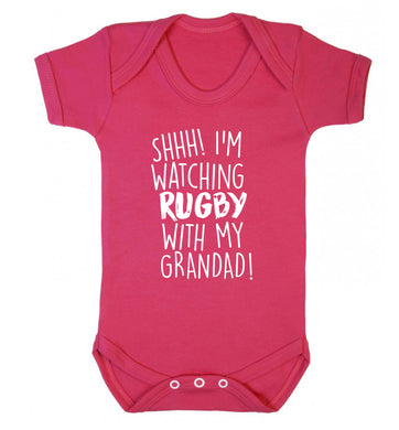 Shh I'm watching rugby with my grandad Baby Vest dark pink 18-24 months