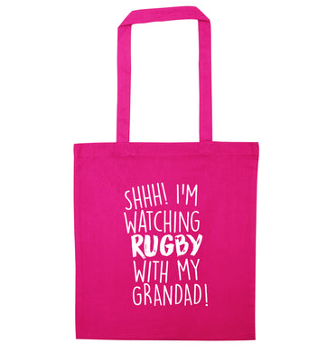 Shh I'm watching rugby with my grandad pink tote bag