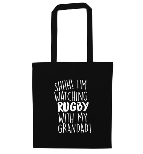 Shh I'm watching rugby with my grandaughter black tote bag