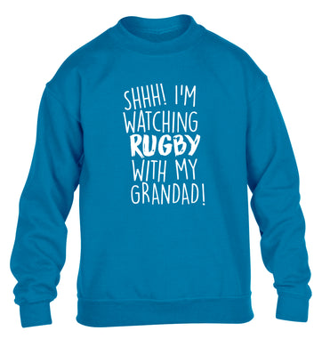 Shh I'm watching rugby with my grandaughter children's blue sweater 12-13 Years