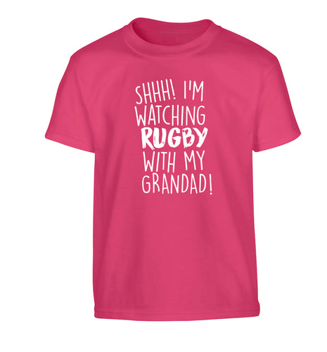 Shh I'm watching rugby with my grandaughter Children's pink Tshirt 12-13 Years