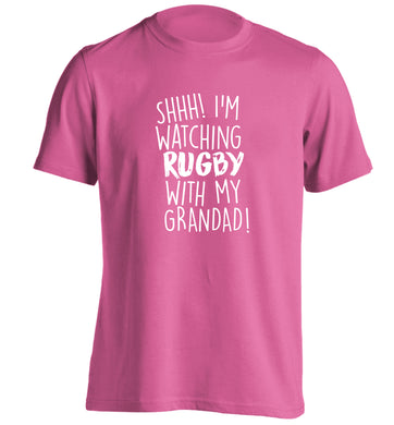Shh I'm watching rugby with my grandaughter adults unisex pink Tshirt 2XL