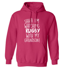 Shh I'm watching rugby with my grandson adults unisex pink hoodie 2XL
