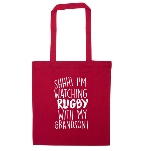 Shh I'm watching rugby with my grandson red tote bag