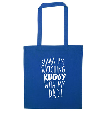 Shh... I'm watching rugby with my dad blue tote bag