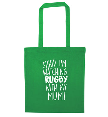 Shh... I'm watching rugby with my mum green tote bag