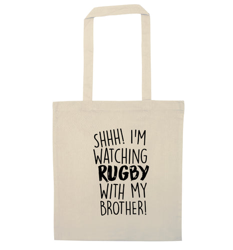Shh... I'm watching rugby with my brother natural tote bag